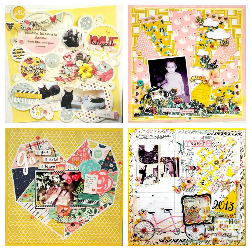 Trendy Yellow and Pink Scrapbook Layouts by Kelly's Korner for The Urban Scrapbook